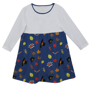 Girls white and blue turkey dress