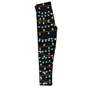 Girls black and multicolor lights leggings with monogram
