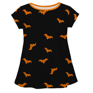 Girls black and orange bats blouse with monogram - Wimziy&Co.