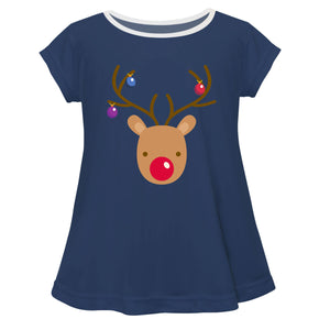Girls navy rudolph blouse with monogram - Wimziy&Co.