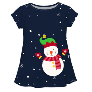 Girls navy snowman blouse with name - Wimziy&Co.