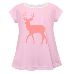 Girls pink deer blouse with name