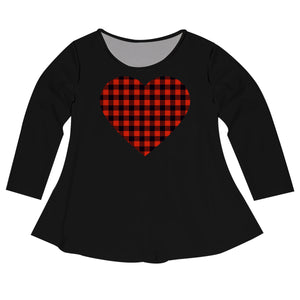 Girls black and plaid heart long sleeve blouse with name - Wimziy&Co.