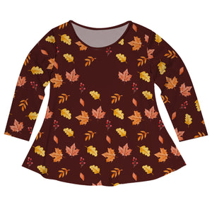 Girls brown leaves blouse with monogram
