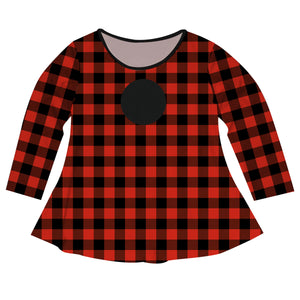 Girls red buffalo plaid long sleeve blouse with monogram - Wimziy&Co.