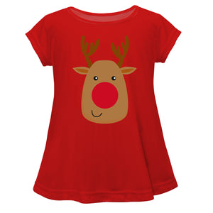 Girls red and brown rudolph blouse with monogram