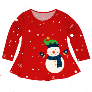 Girls red snowman blouse with name