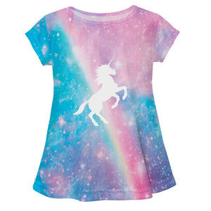 Watercolor and white unicorns girls blouse with name - Wimziy&Co.