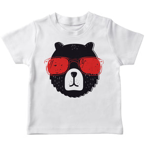 Boys white and black bear short sleeve tee shirt with name - Wimziy&Co.