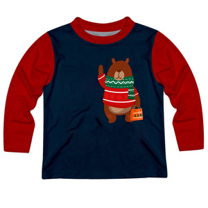 Boys blue and red christmas bear tee shirt with name and inital