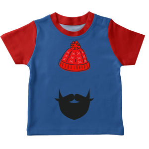 Boys royal and red hay and beard short sleeve boys tee shirt with name - Wimziy&Co.