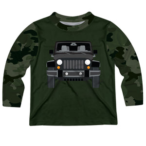 Jeep Black Name Green Camo Long Sleeve Tee Shirt - Wimziy&Co.