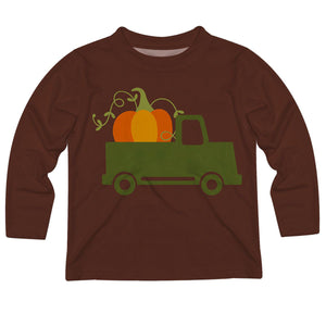 Boys brown pumpkin and truck tee shirt with name