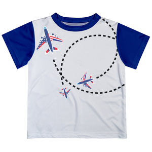 Planes White Royal Short Sleeve Boys Tee Shirt - Wimziy&Co.
