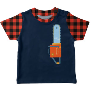Boys navy and red plaid lumberjack short sleeve tee shirt with name and number