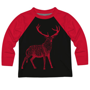 Boys black and red ragland deer long sleeve tee shirt with name - Wimziy&Co.