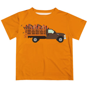Boys orange truck tee shirt with name