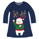 Girls navy polar bear dress with name - Wimziy&Co.