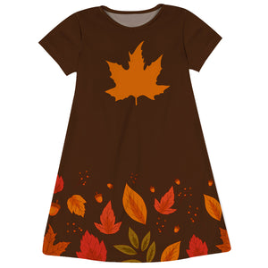 Girls Brown and orange leaves dress with monogram - Wimziy&Co.