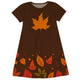 Girls Brown and orange leaves dress with monogram