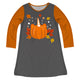 Girls gray and orange pumpkin unicorn dress with name
