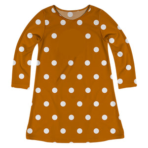 Girls brown and white polka dots dress with monogram