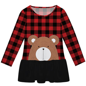 Girls red plaid and brown bear lily dress with name - Wimziy&Co.