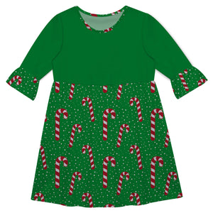 Girls green candy canes dress with monogram