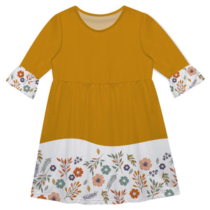 Girls mustar and white flowers dress with monogram - Wimziy&Co.
