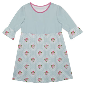 Girls light blue and pink floral dress with name - Wimziy&Co.