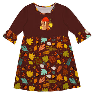 Girls brown chimpnuk and leaves dress with name - Wimziy&Co.