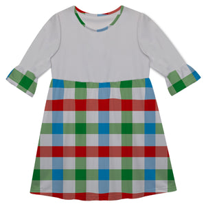 Girls white and multic plaid dress with monogram - Wimziy&Co.