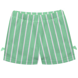 Girls green and white striped short with name - Wimziy&Co.