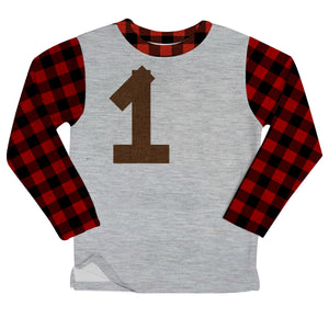 Boys gray and red plaid heather fleece sweatshirt with number and name - Wimziy&Co.