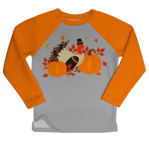 Boys grey and orange turkey sweatshirt with name