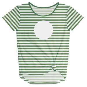 Girls green and white striped blouse with monogram - Wimziy&Co.