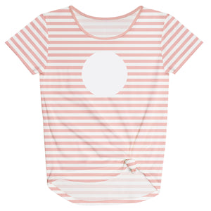 Girls white and peach striped blouse with monogram - Wimziy&Co.