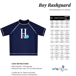 Glasses Name White and Blue Short Sleeve Rash Guard
