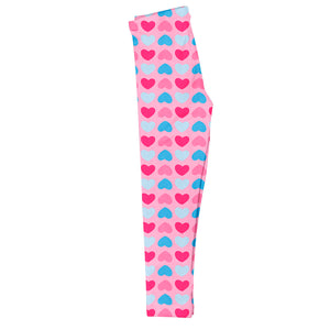 Hearts Print Monogram Pink Leggings - Wimziy&Co.