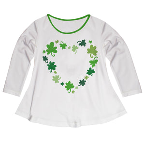 Heart Clovers Monogram White Long Sleeve Laurie Top - Wimziy&Co.