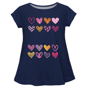 Hearts Name Navy Short Sleeve Laurie Top