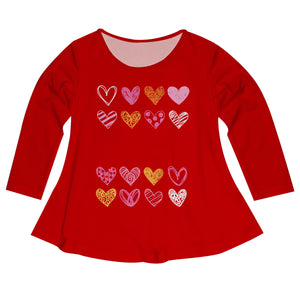 Hearts Name Red Long Sleeve Laurie Top - Wimziy&Co.