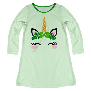 Unicorn Name Green Long Sleeve A Line Dress