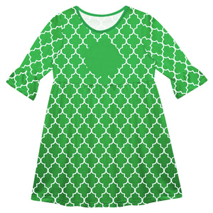 Quatrefoil Monogram Green Amy Dress Three Quarter Sleeve - Wimziy&Co.