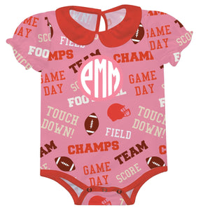 Girls pink and red football onesie with monogram - Wimziy&Co.