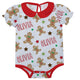 White Peter Pan collar onesie with all over  gingerbread cookie print and name