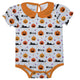 Girls white and orange jack o lantern onesie with name - Wimziy&Co.