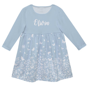Girls blue and white dress with name - Wimziy&Co.