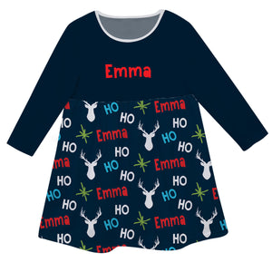 Navy long sleeve Epic dress with all over  reindeer print and name