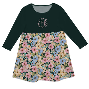 Girls green floral dress with monogram - Wimziy&Co.
